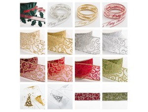 Christmas Organza Ribbion Sparkly Tying GIFT WRAP various colours and patterns