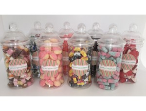 VICTORIAN SWEET JARS GIFTS FILLED WITH TRADITIONAL RETRO CHRISTMAS OR PARTY