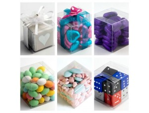 LUXURY TRANSPARENT PVC CUBE CHOCOLATE SWEETS, CUP CAKE, WEDDING FAVOUR GIFT BOXES