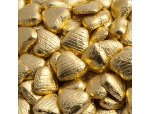 GOLD FOIL CHOCOLATE LOVE HEARTS WEDDING FAVOURS
