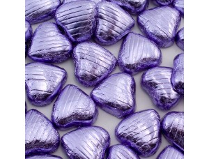LILAC FOIL CHOCOLATE LOVE HEARTS WEDDING FAVOURS WRAPPED