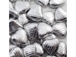 SILVER FOIL CHOCOLATE LOVE HEARTS WEDDING FAVOURS WRAPPED