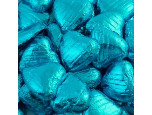 TURQUOISE FOIL CHOCOLATE LOVE HEARTS WEDDING FAVOURS WRAPPED