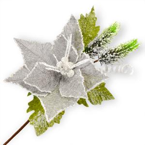 Christmas Hessian Flower Stems - Floristry Cake Craft Decoration XMAS